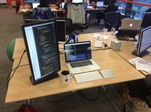 My desk. Complete with Jana mug.